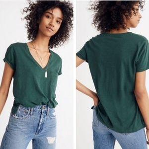 🍁Madewell Green Whisper Cotton V-Neck Pockt Tee
